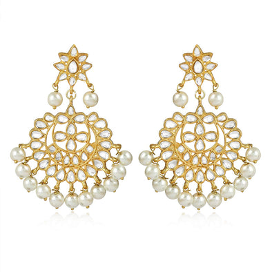GoldPlated Fashion Chandbali Hook Dangler Stylish Fancy Party Wear Earrings
