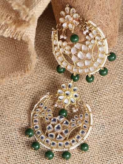 Kundan Dark Green Chandbali Earrings