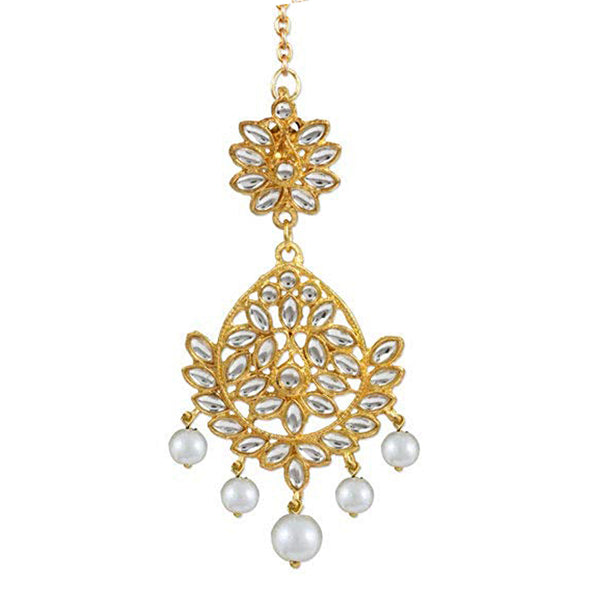 Traditional Gold Plated Pearl Beads Kundan Maang-Tikka For Women