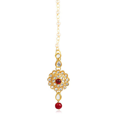 Traditional Gold Plated Red Beads Kundan Maang-Tikka For Women