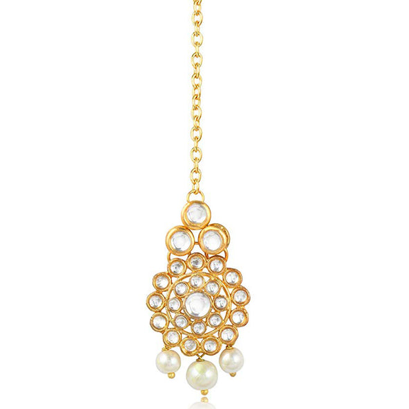 Traditional Gold Plated Pearl Beads Kundan Maangtikka For Women