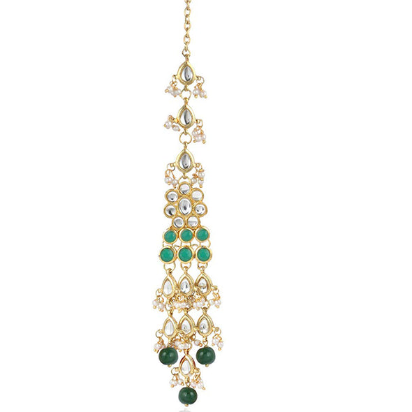 Traditional Gold Plated Green Beads Kundan Maang-Tikka For Women