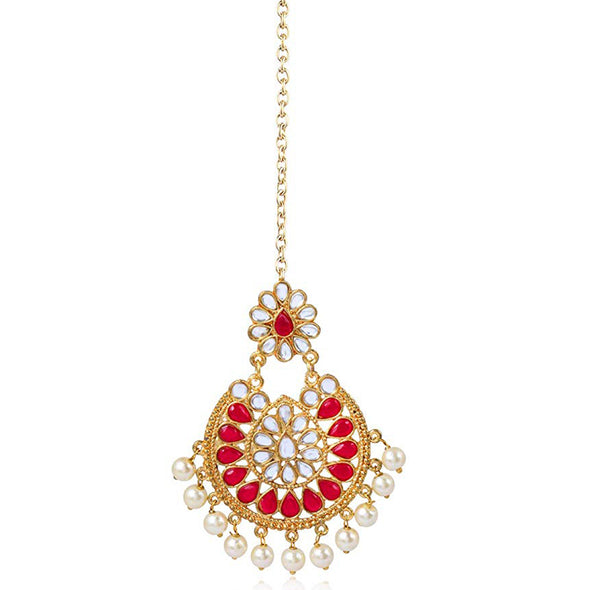 Traditional Gold Plated Red Stones Pearl Beads Kundan Maangtikka For Women