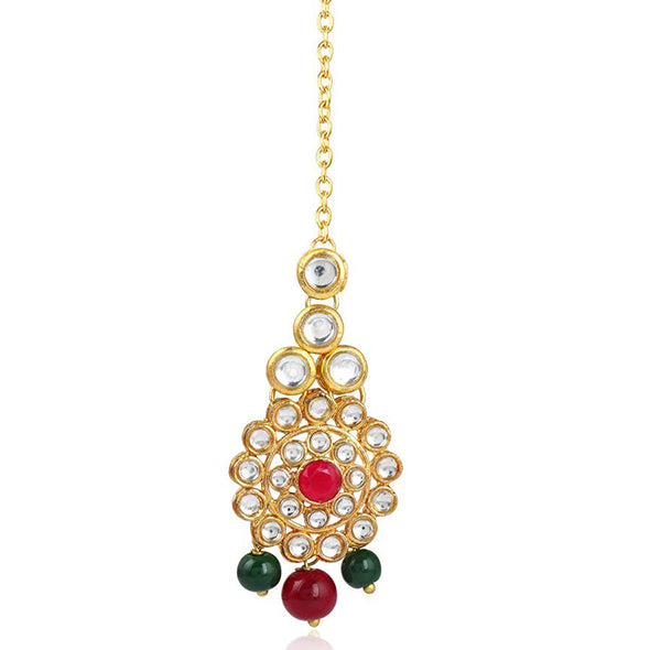 Traditional Gold Plated Red Stone Pearl Beads Kundan Maangtikka For Women