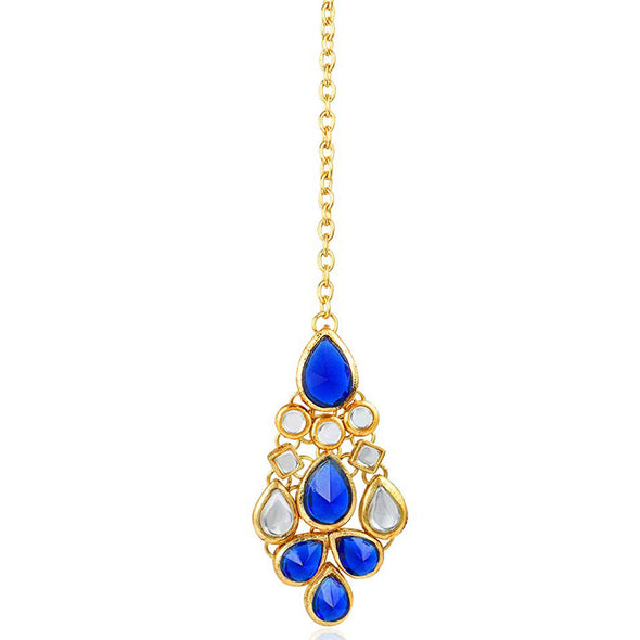 Traditional Gold Plated Blue Stone Kundan Maangtikka For Women