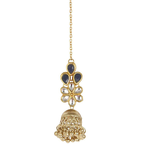 Traditional Gold Plated Jhumki Blue Stone Kundan Maang-Tikka For Women