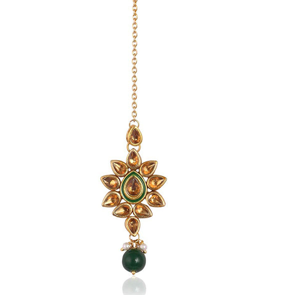 Traditional Gold Plated Green Beads Brown Kundan Maang-Tikka For Women