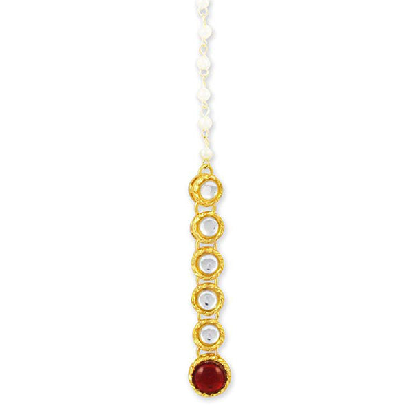 Traditional Gold Plated Red Stone Kundan Maang-Tikka For Women