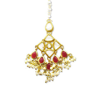 Traditional Gold Plated Tassel Beads Kundan Maang-Tikka For Women