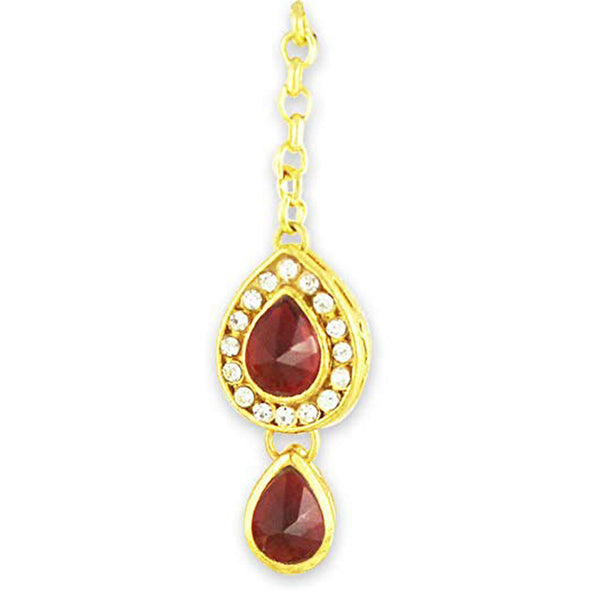 Traditional Gold Plated Red Stones Kundan Maang-Tikka For Women