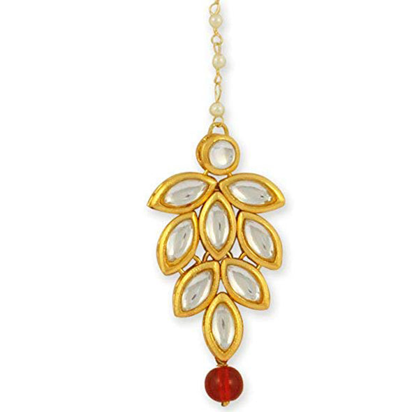 Traditional Gold Plated Red Beads Kundan Maangtikka For Women