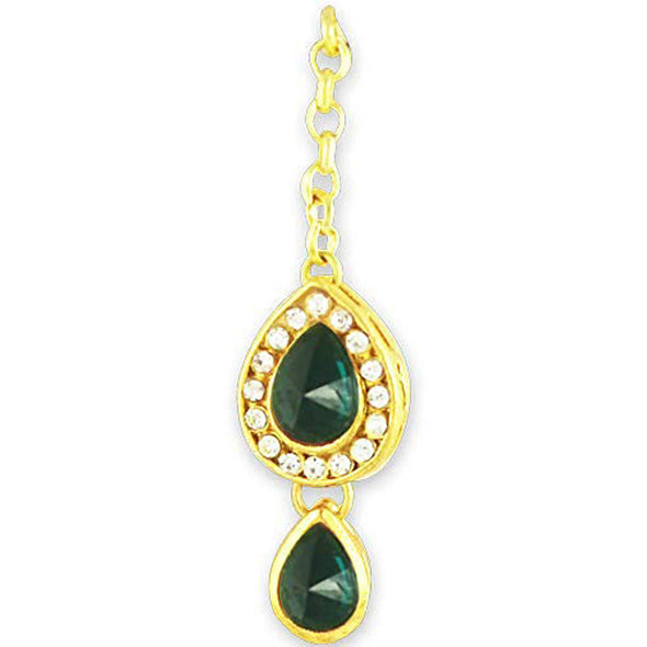 Traditional Gold Plated Green Stones Kundan Maang-Tikka For Women