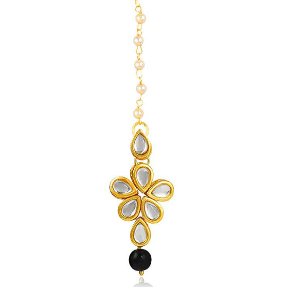 Traditional Gold Plated Black Beads Kundan Maang-Tikka For Women