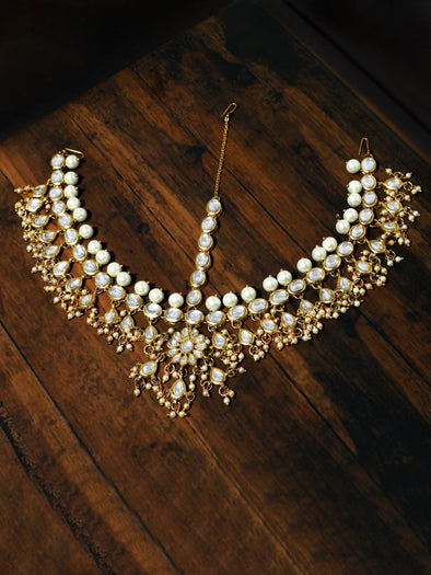 Gold-Tone Pearl Beads and Tassels Kundan Mathapatti