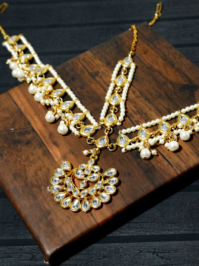 Gold-Tone Kundan Mathapatti with Pearl Beads
