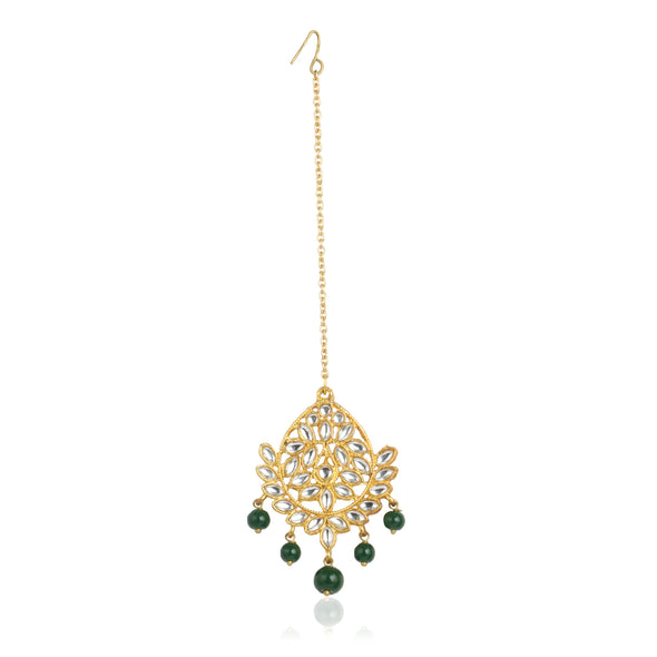 Traditional Gold Plated Green Beads Kundan Maangtikka for Women