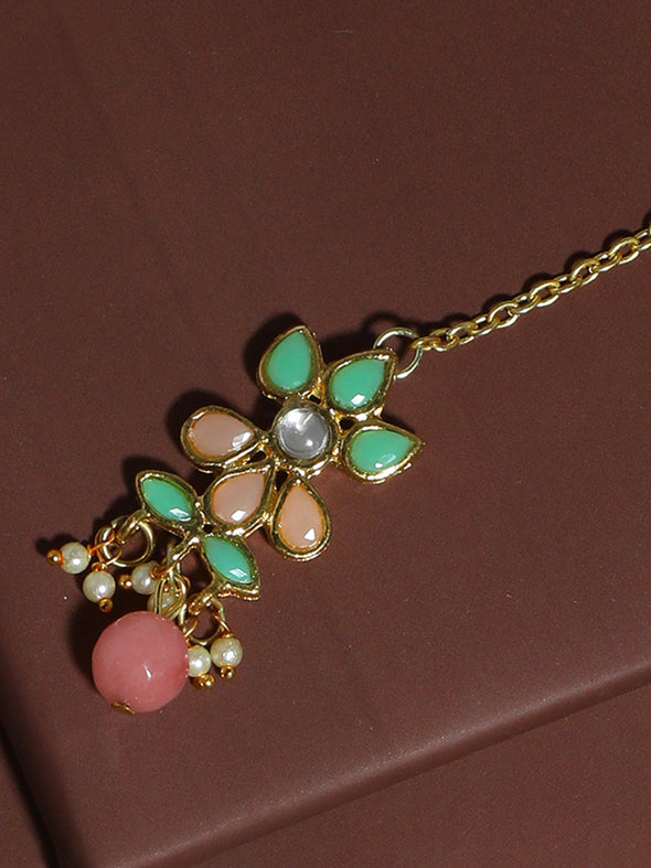 Traditional Gold Plated Mint Blue and Peach Kundan Maangtikka with Peach Beads for Women
