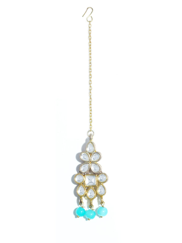 Traditional Gold Plated White Kundan Maangtikka with Aqua Blue Beads for Women