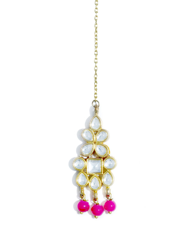 Traditional Gold Plated White Kundan Maang-Tikka with Pink Beads for Women