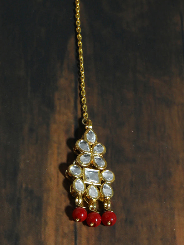 Traditional Gold Plated White Kundan Maang-Tikka with Red Beads for Women