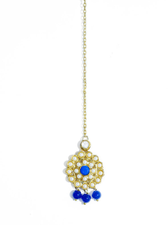Traditional Gold Plated Blue Beads Kundan Maangtikka with Blue Center for Women