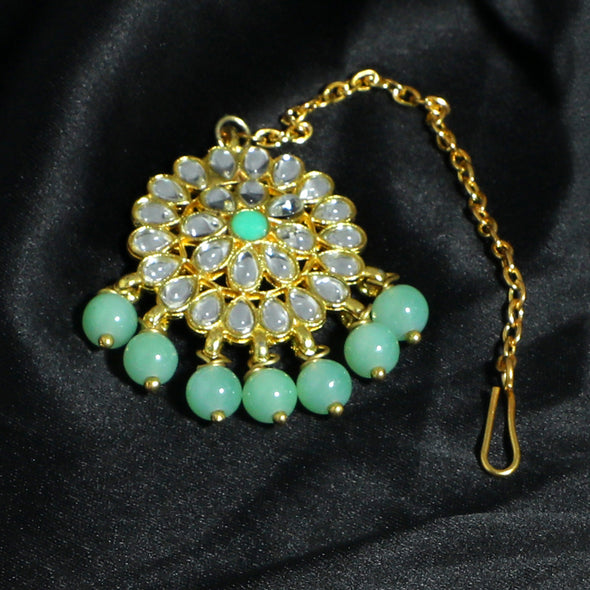 Traditional Gold Plated Mint Green Beads Kundan Maangtikka with Mint Green Center for Women