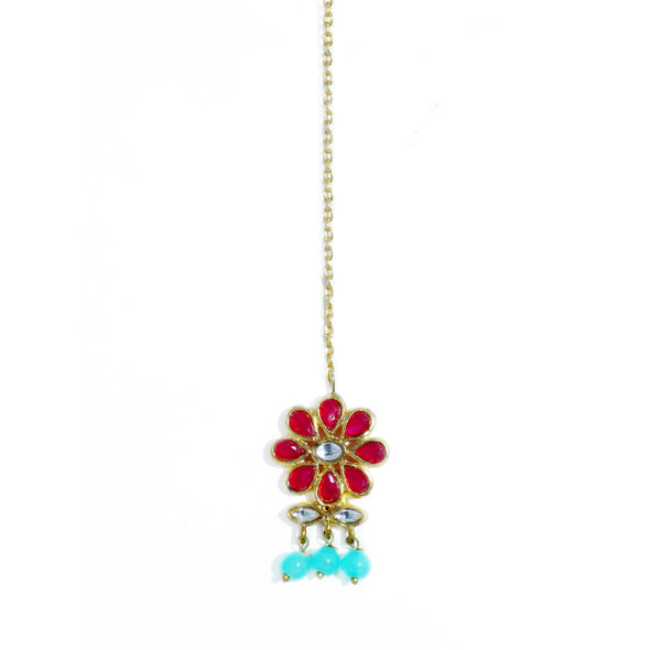 Traditional Gold Plated Blue Beads and Red Kundan Maangtikka for Women