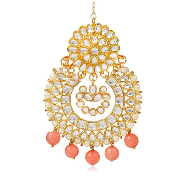 Traditional Gold Plated Peach Beads Kundan Maang-Tikka for Women