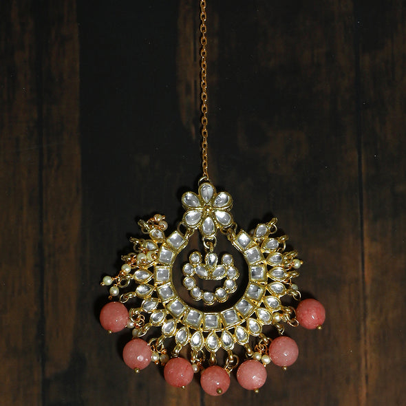 Traditional Gold Plated Peach Beads Kundan Maangtikka for Women