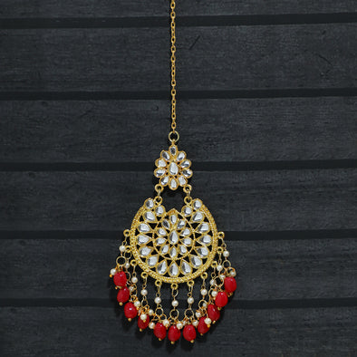 Traditional Gold Plated Red Beads and Tassel Kundan Maang-Tikka for Women