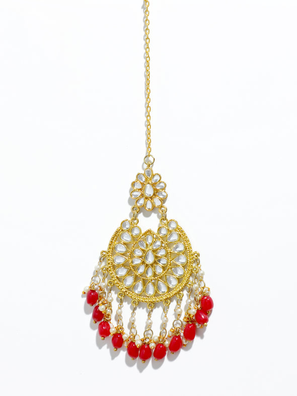 Traditional Gold Plated Red Beads and Tassel Kundan Maangtikka for Women