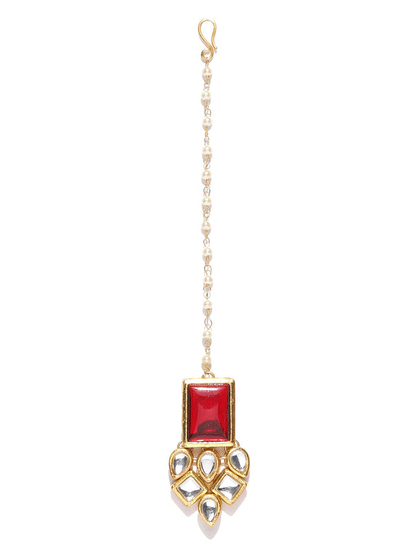 Traditional Gold Plated Red Stone Kundan Maangtikka for Women