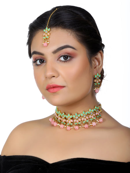 Pastel Green and Pink Kundan Choker Necklace Set with Earrings and Maangtikka