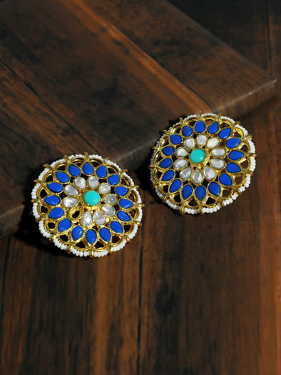 Kundan Blue Stud Earrings