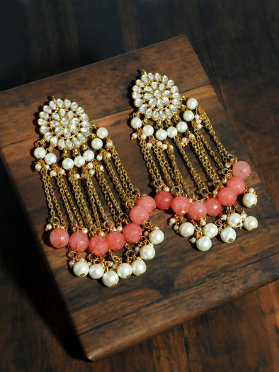 Peach and Pearl Tassel Kundan Earrings