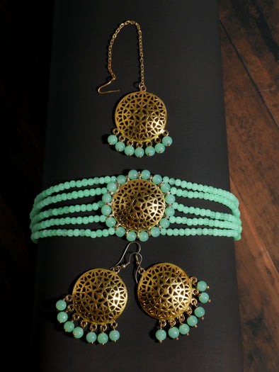 Mint Green Beaded Choker Necklace Set with Earrings and Maangtikka