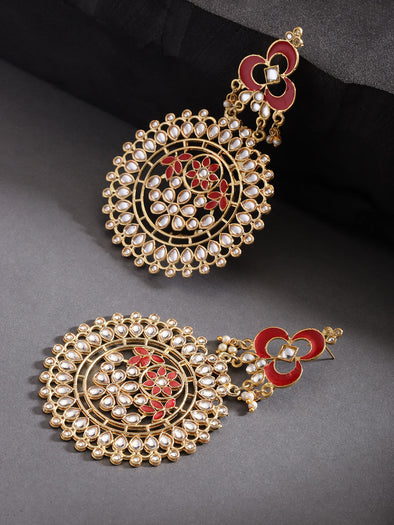 Kunuz Kundan Earrings with red Meena