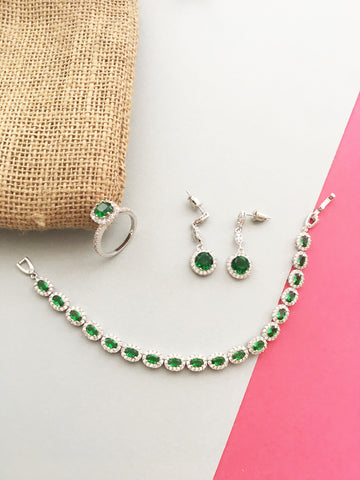 PLATINUM PLATED GREEN PREMIUM CRYSTAL COMBO