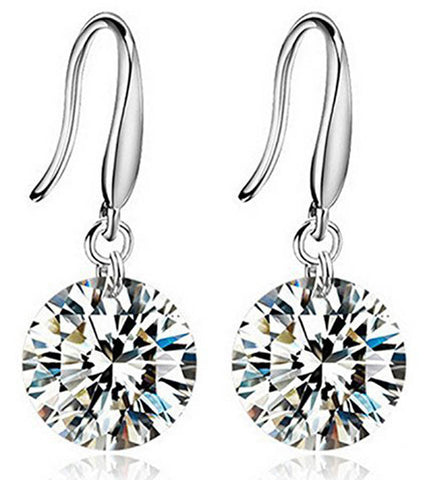 925 Sterling Silver Crystal Dangle Earrings For Women