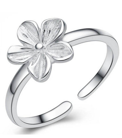 925 Sterling Silver Adjustable Petal Ring For Women