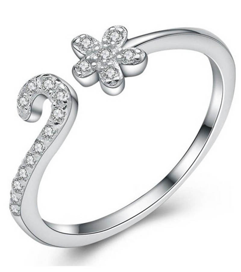 925 Sterling Silver Adjustable Crystal Petal Ring For Women