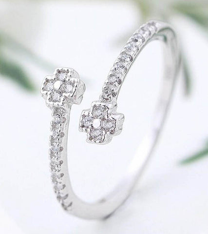 925 Sterling Silver Adjustable Parallel Crosses Ring For Women
