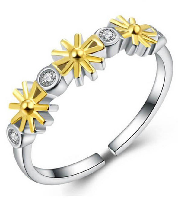 Sun and Moon 925 Sterling Silver Adjustable Ring
