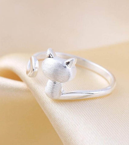925 Sterling Silver Adjustable Cat Ring For Women