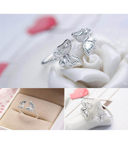 925 Sterling Silver Adjustable Butterfly  Ring For Women