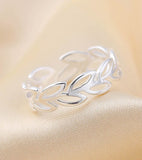 925 Sterling Silver Adjustable  Leaf  Band Ring For Women