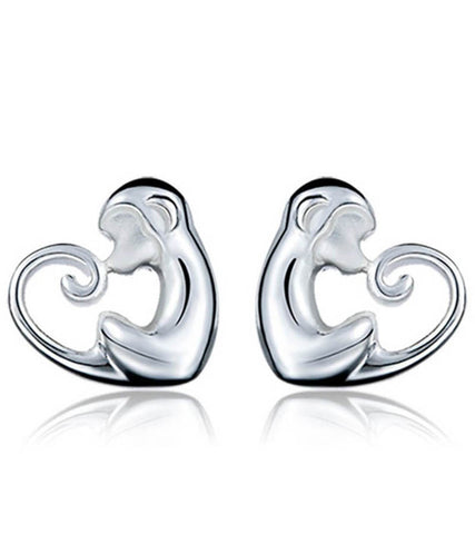 925 Sterling Silver Crystal  Monkey Cut Stud Earrings For Women