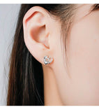 925 Sterling Silver Crystal  Monkey Cut Stud Earrings