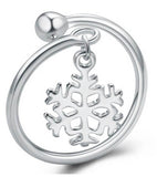 925 Sterling Silver Adjustable Snowflake Ring