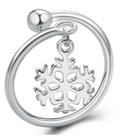 925 Sterling Silver Adjustable Snowflake Ring For Women